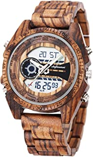 Men's Wood Watch, shifenmei S2139-1 Lightweight Wooden Watch Digital Quartz Japanese Movement Wood Wrist Sport Watches for Men Gifts with 4 Mode and EL Backlight