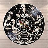 Njuxcnhg Vinyl Record Wall Clock-Boxing Vingtage LP Kampfsport Wandkunst Faustkämpfer Mann Höhle Motivation Männliche Dekoration Boxer Geschenk
