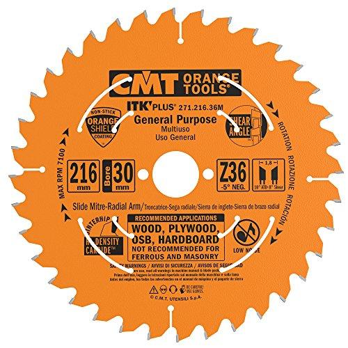CMT 271.216.36M Lama Circolare Itk-Plus per Taglio Lungo e Traverso Vena, Arancio