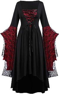 Fossenfeliz Disfraz de Reina Gótico Elegante Halloween Tallas Grandes - Vestido de Mujeres - Falda Larga de Diosa del Temperamento de Fiesta de Mascarada