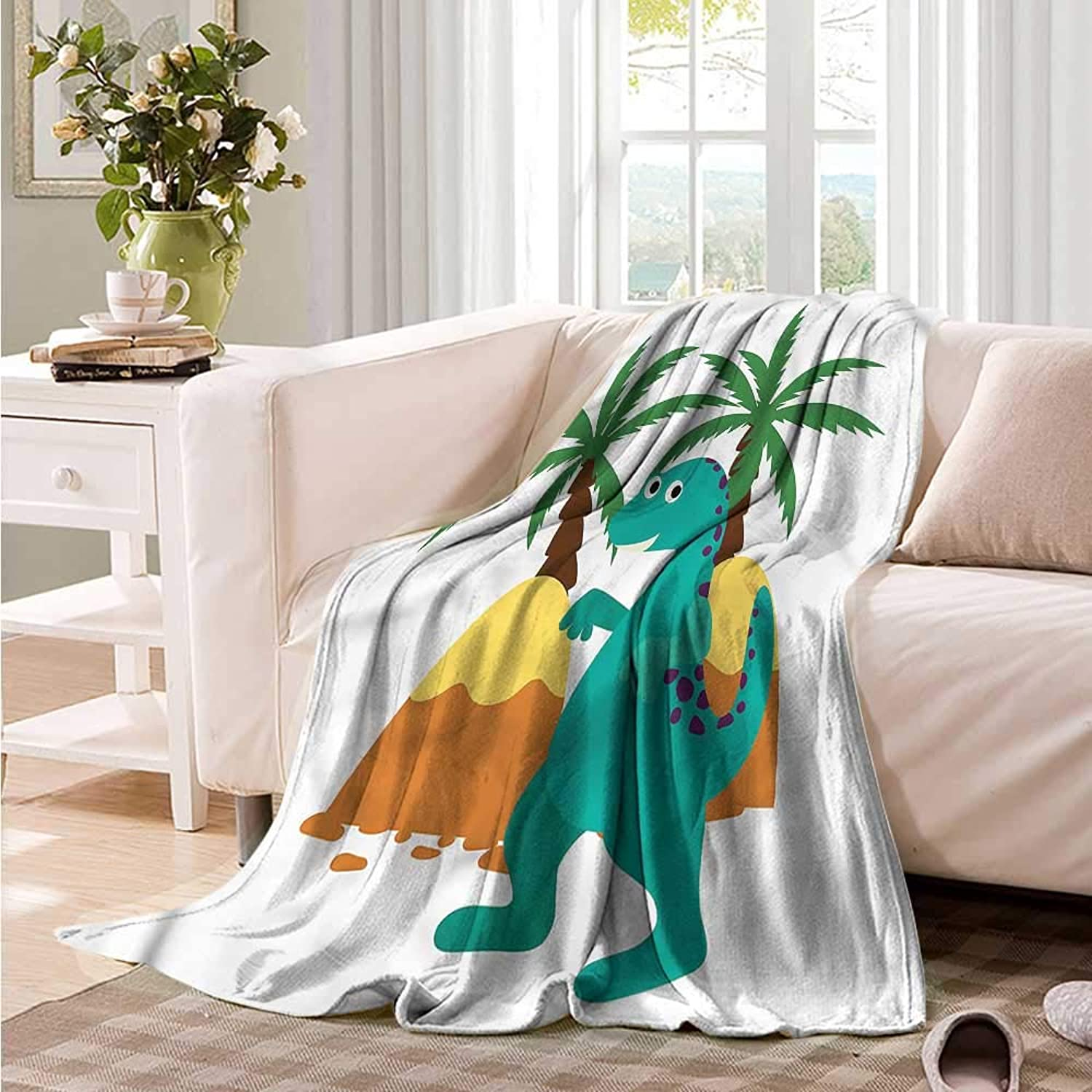 Oncegod Flannel Blanket Dinosaur Party Prehistoric Monster Camping Throw,Office wrap 60  W x 51  L