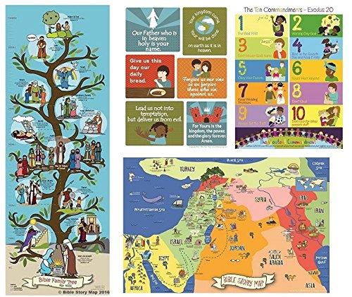 Pôsteres bíblicos para crianças (conjunto de 4) oração de Deus, dez mandamentos, mapa bíblico e árvore genealógica - história cristã e arte para a igreja de casa ou escola bíblica de domingo