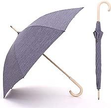 Automatic Long Umbrella Poplar Log Wooden Handle 4 Colors Minimalism Women Men Rain Windproof Classic Umbrella,Blue