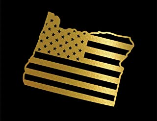 ND396G State Of Oregon Flag Decal Sticker | 5.5-Inches By 4.6-Inches | Premium Quality Gold Vinyl