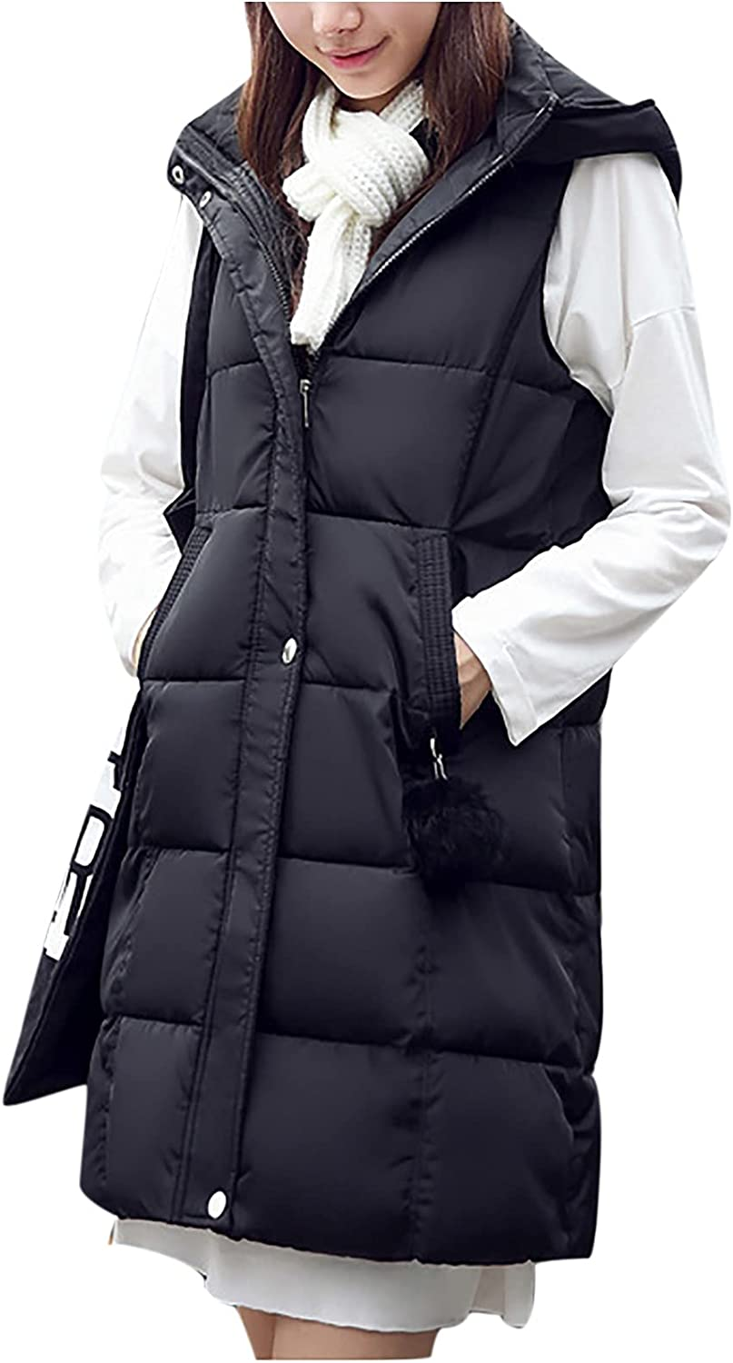 BOXIACEY Women's Hooded Vest Warm Down Cotton Solid Color Sleeveless Coat Stand Collar Slim Zipper Vest Outerwear