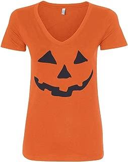 Women's Halloween Pumpkin Face V-Neck T-Shirt