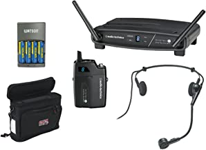 Audio-Technica ATW-1101/H System 10 Digital Wireless Headworn Dynamic Microphone Set with GM-1W Mobile Pack & 4-Hour Rapid Charger Kit
