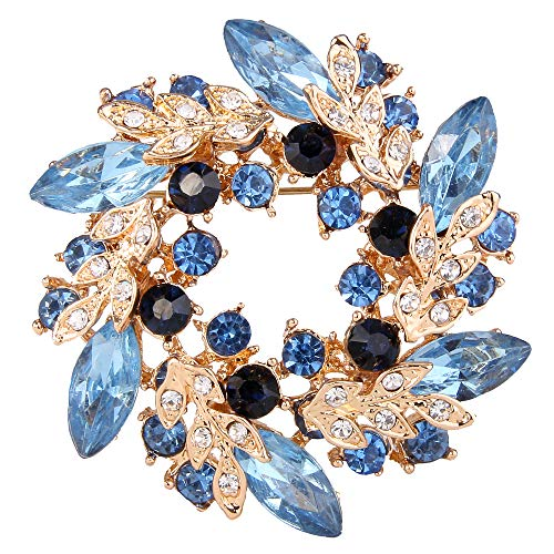 EVER FAITH Austrian Crystal Wedding Flower Wreath Brooch Pin Blue Sapphire Color Gold-Tone