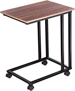 Plemo Mobile End Table, Wooden Style Top with Sturdy Metal Frame, Vintage Furniture Easy Assembly for Living Room, Bedroom, 23.8Inch H