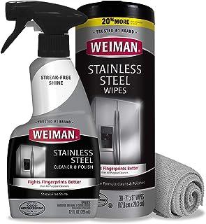 Weiman Stainless Steel Cleaner Kit – Fingerprint Resistant, Removes Residue, Water..