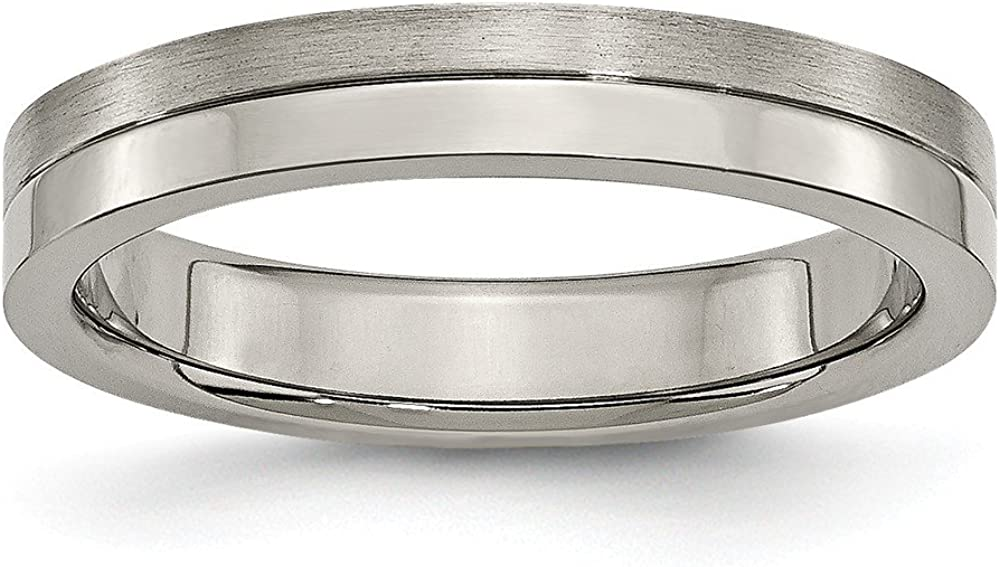 ICE CARATS Titanium Brushed 4mm Grooved Wedding Ring Band Fancy Fashion Jewelry for Women Gifts for Her