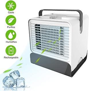 HYANF Acondicionador De Aire PortáTil, Refrigerador De Aire Personal, Mini Ventilador De Escritorio USB, con Asa Y Luces LED, Dormitorio, Sala De Estar, Oficina Y Exteriores