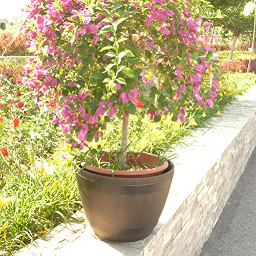 Yardwe Tree Pot Large Tree Basin Extra Resin Imitation Rattan Wooden Barrel Outdoor Bonsai Garden Floor Flower Pot