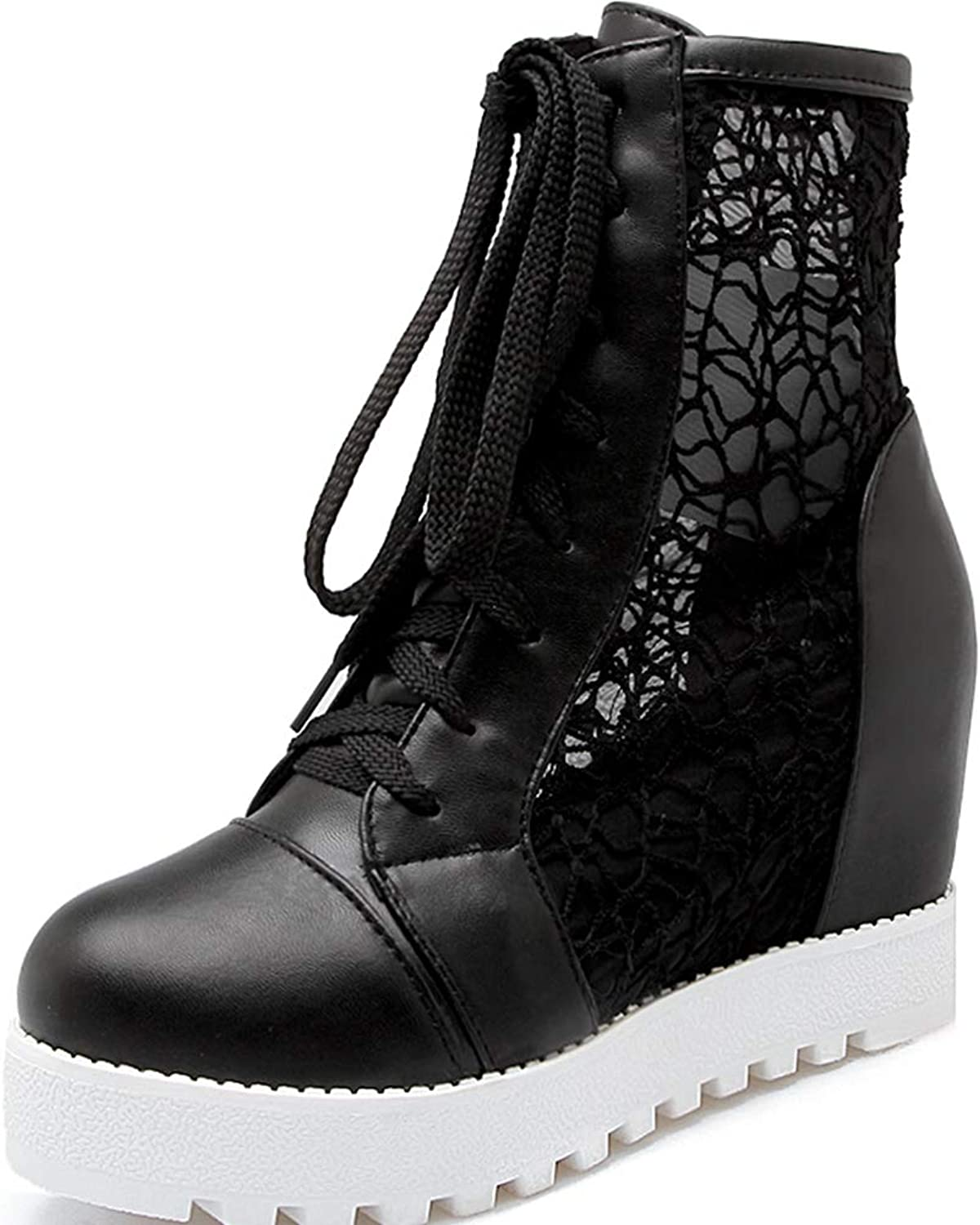 Vimisaoi Women Lace Pu Round Closed Toe Lace-Up Ankle High Increased Hidden Heel Pierced Short Boots