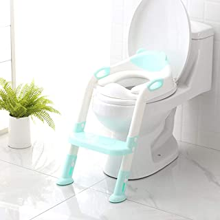 Potty Training Seat with Step Stool Ladder,SKYROKU Potty Training Toilet for Kids Boys Girls Toddlers-Comfortable Safe Potty Seat with Anti-Slip Pads Ladder (Blue)