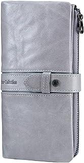 LDUNDUN-BAG, 2019 Leather Casual Buckle Long Clutch Women's Wallet (Color : Silver, Size : S)