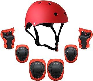 Lixada Kids 7 in 1 Helmet and Pads Set Adjustable Kids Knee Pads Elbow Pads Wrist Guards for Scooter Skateboard Roller Ska...