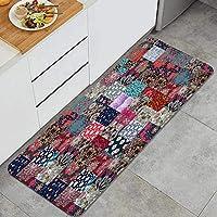 NIKIVIVI キッチンマット 洗える、美しい花とロシア風のシームレスなパッチワークパターン、ラグ キッチン カーペット 滑り止め 廊下敷き フロアマット、家、オフィス、流し、台所マット 45 x 120