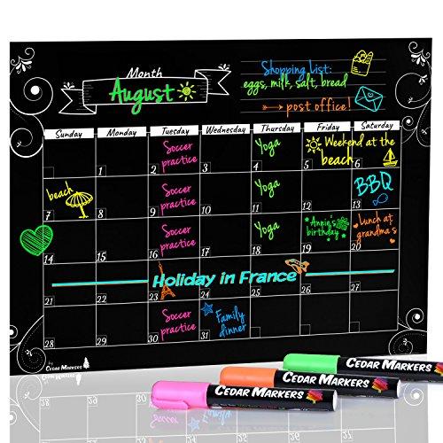 "Cedar Markers 16""x12"" Black Magnetic Fridge Calendar With 3 Free Chalk Markers. Dry Erase Blackboard Monthly Calendar. (Black)"