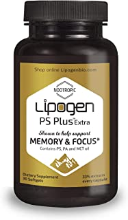 Brain Boost Supplement - Enhance Memory, Focus & Clarity. Extra 33% in Every Softgel. Highly Effective, Clinically Proven Formula for Cognitive Function. Lipogen PS Plus (30 Softgels)