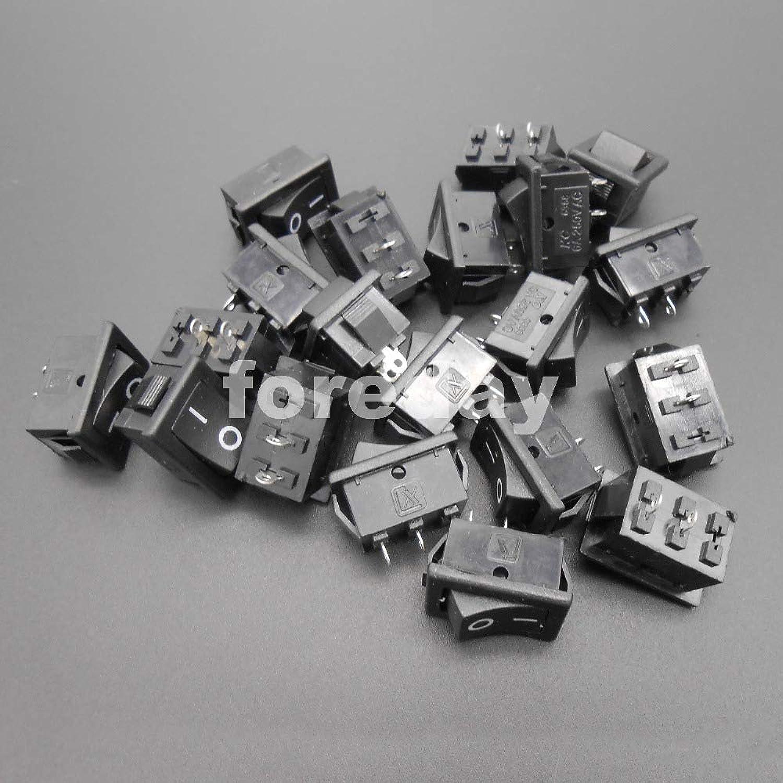 50PCS X 2 Pins Power Switch Button Push Rocker Switch ShipTypeSwitch 6A 250VAC 10A 125VAC for lamp Water Dispenser  FD175X50
