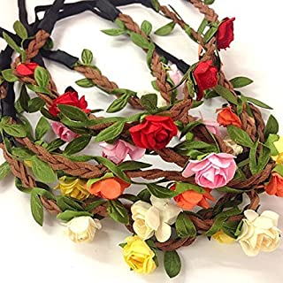 5 Pcs Women Lady Girl`s Bohemian Boho Style Rose Flower Floral Crown Headband Garland Halo Hair Band For Festival Party We...