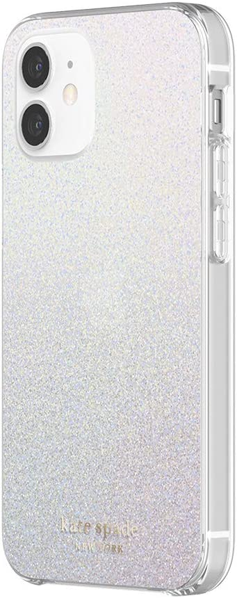 kate spade new york Protective Hardshell Case Compatible with iPhone 12 Mini - White Glitter Wash/Translucent White