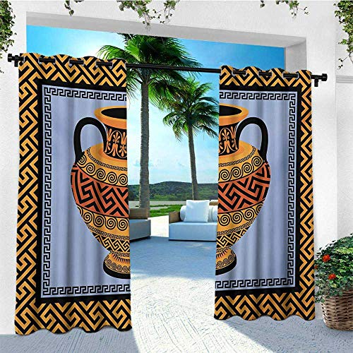 leinuoyi Greek Key, Outdoor Curtain Modern, Frame with Traditional Vintage Square Ornament Meander and Amphora, for Gazebo W72 x L108 Inch Orange Lavender Black