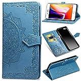 Funda iPhone 6 Plus, iPhone 6s Plus Carcasa Libro con Tapa Flip Case Antigolpes Golpes Cartera PU Cuero Suave Soporte con Correa Cordel - Mandala Azul