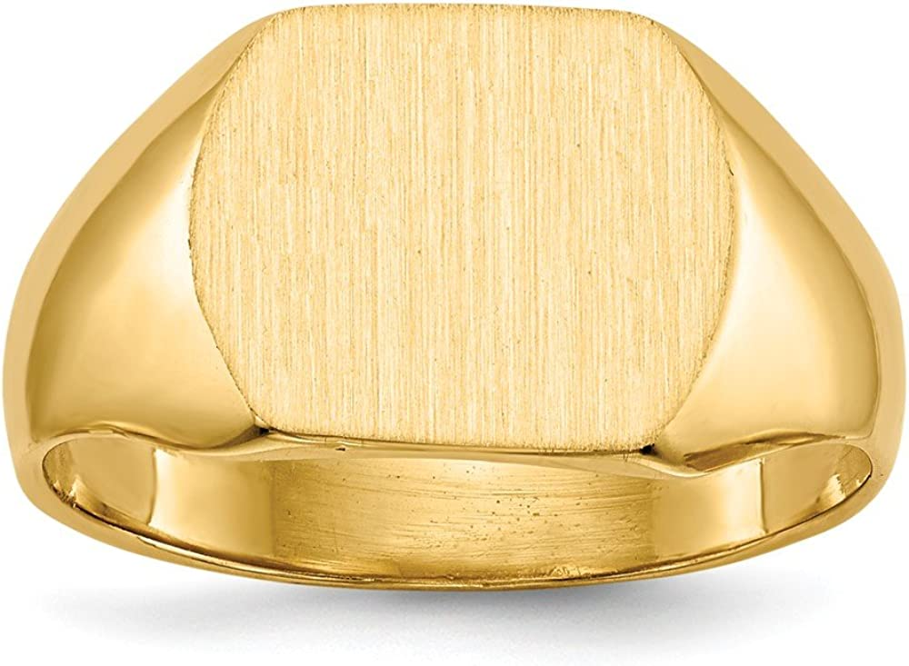 14k Yellow Gold 10.5x12.0mm Closed Back Signet Band Ring Size 8.00 Man Fine Jewelry For Dad Mens Gifts For Him