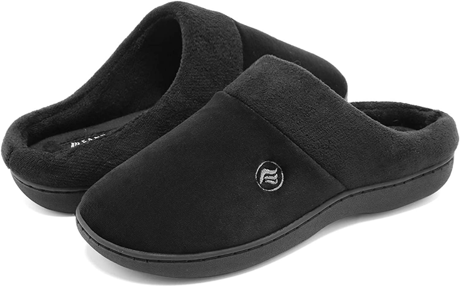 FANTURE Women's Memory Foam Slippers Terry Slip-on Clog Scuff House shoes Indoor & Outdoor Arch Support-U418WMT025-black-36.37