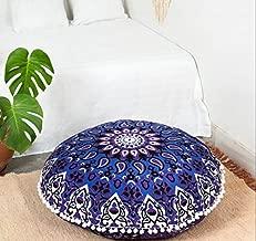 Popular Handicrafts Large Hippie Star Mandala Floor Pillow Cover - Cushion Cover - Pouf Cover Round Bohemian Yoga Decor Floor Cushion Case- 32 Blue Purple