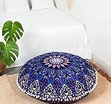 "Popular Handicrafts Large Hippie Star Mandala Floor Pillow Cover - Cushion Cover - Pouf Cover Round Bohemian Yoga Decor Floor Cushion Case- 32"" Blue Purple"