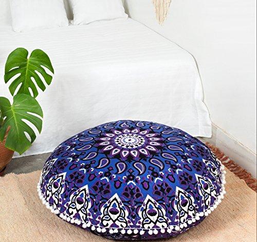 Popular Handicrafts Large Hippie Star Mandala Floor Pillow Cover - Cushion Cover - Pouf Cover Round Bohemian Yoga Decor Floor Cushion Case- 32