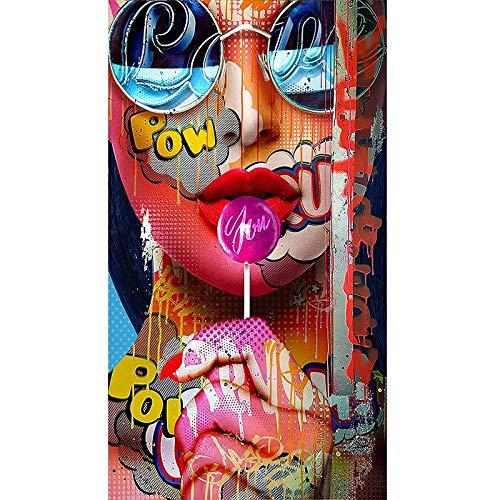 WIOIW Moda Hip-Hop Graffiti Patrón Pieles Maquillaje Sexy Chica Mujer Modelo Retrato Lienzo Pintura Arte de la Pared Póster Sala de Estar Dormitorio Salón de Belleza Estudio Decoración del hogar