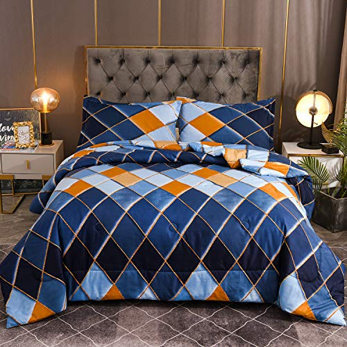 YEARNING Queen 3 Piece Diamond Printed Comforter Set with Pillow Shams 3D Printed Designs Reversible Comforter Queen Size Bedding Sets