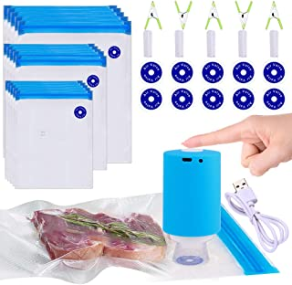 Sous Vide Bags, 42 PCS Electric Vacuum Sealer & Reusable Vacuum Food Storage Bags for Anova, Joule Cookers -30 PCS Reusable Vacuum Sealer Bags,5 Clips & 5 Sealing Clips,Rechargeable Vacuum Sealer Set