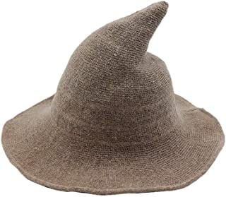 Howely Womens Wide Brim Halloween Party Wool Cap Knit Headwear Witch Hat