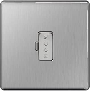 BG Electrical Unswitched Fused Connection Unit, Brushed Steel, 13 Amp