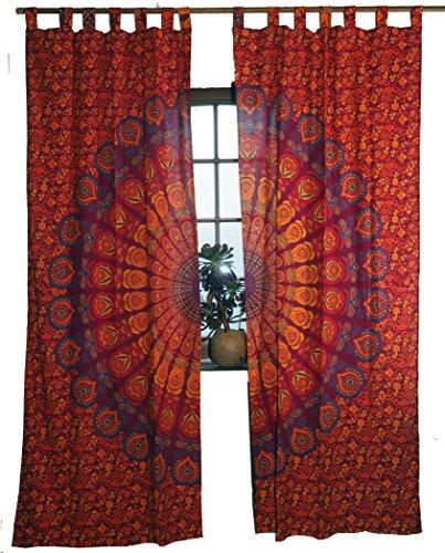 Guru-Shop Vorhang, Gardine (1 Paar Vorhänge, Gardinen) mit Schlaufen, Mandala Motiv - Rot/lila, Baumwolle, 230x100x0,2 cm, Dekovorhänge