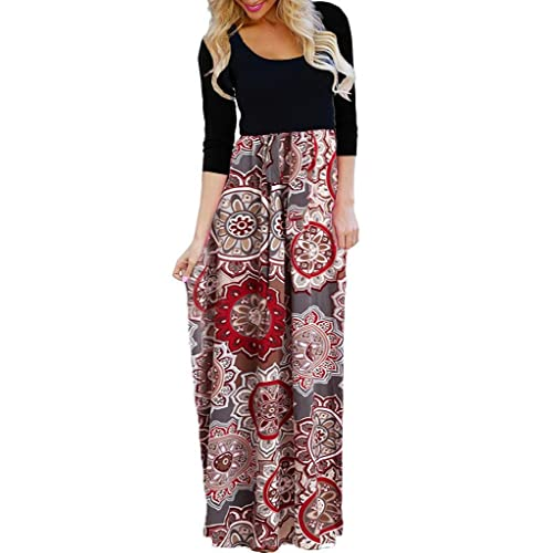 22e449817aa58 OURS Women's Casual 3/4 Sleeve Floral Print Dresses Ethnic Style Party Long  Maxi Dresses