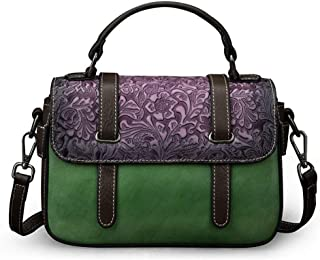 Luxurious The First Layer of Leather Women's Handbags Color Matching Flower Pattern Cover European and American Fashion Casual Shoulder Bag Outdoor Messenger Bag (23.5 * 8 * 15.5CM) (Color : Green)