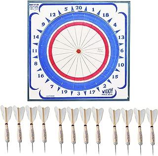 Widdy Paper Dart Board w 12 Steel Tip Darts