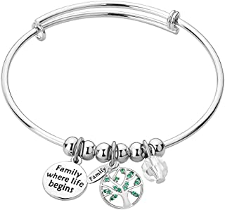 Family Tree of Life Home Expandable Inspirational Wire Bangle Bracelet Heart Charm Stackable Adjustable Bracelets