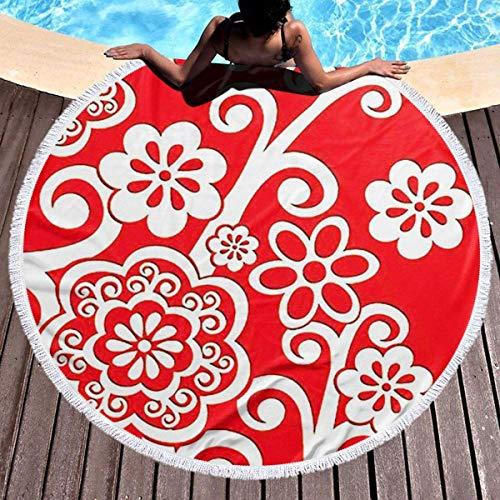 Rundes Strandtuch, weiße Blume Wirbel Hippie Happy Youth Handtuch Extra große sandfeste Decke Yogamatte mit Quasten 59 '