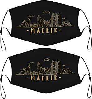 Madrid Kids Face Masks Set of 2 with 4 Filters Washable Reusable Breathable Black Cloth Bandanas Scarf for Unisex Boys Girls