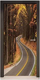 Fall 3D Door Wallpaper Curvy Roadway Through The Forest Great Smokey Mountains Change of Seasons Traveling for Home Decoration Multicolor,W17.1xH78.7