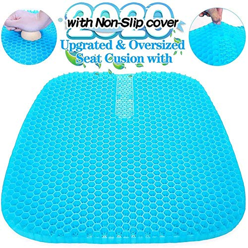Yppss Breathable mesh Gel Seat Cushion, Double Thick Seat Cushion with Non-Slip Cover Breathable Honeycomb Design Cushion for Pressure Relief Back Pain -Car Home Office Chair Wheelchair eternal