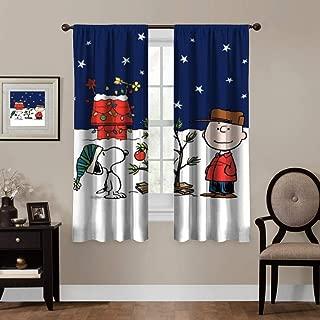Ygosoo Window Curtains,Charlie Brown & Snoopy,Living Room Bedroom Window Drapes 2 Panel Set,55