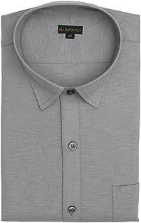 BLUEPOCKET Linen Cotton Formal Shirt for Men. Regular Fit, Grey Color, Full Sleeves Rounded Hemlines.